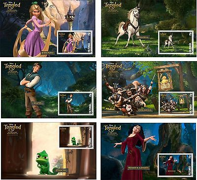 Disney Tangled Characters 6 Souvenir Sheets Unperforated