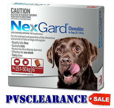 Nexgard for Large Dogs 25.1 - 50 kg Red 6 Pack CLEARANCE Nexguard Flea & Tick