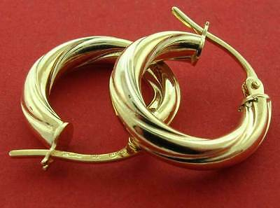 375 9Ct Gold Round 15X3Mm Twisted Tube Wire Hoop Creole Sleeper Earrings