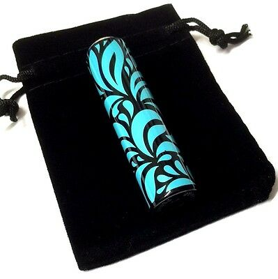 CLIPPER SWIRL SHINY BLUE SILVER METAL CASE with GAS MINI LIGHTER and Gift Pouch