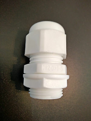 10x 20 mm White IP68 Waterproof Compression Cable Gland Locknut M20