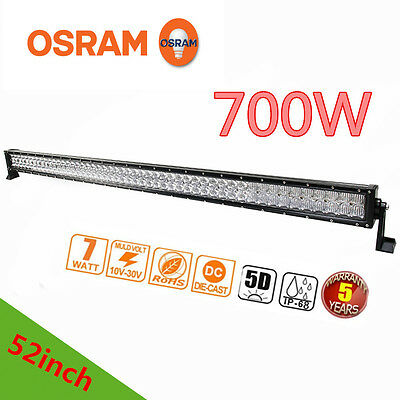 Xmas!5D 52inch 700W LED Spot Flood Combo Work Light Bar Offroad Driving Lamps