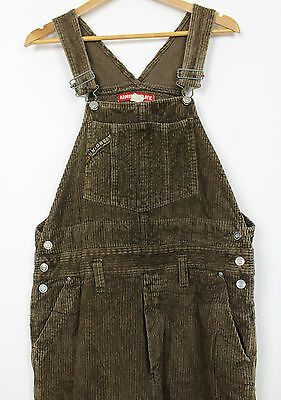 VTG LADIES BROWN JUMBO CORDUROY OVERALLS JUMPSUIT DUNGAREES 90s WOMENS LARGE