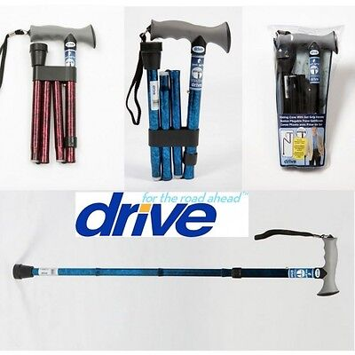 Drive Medical Adjustable Folding Walking Stick Soft Grip Gel handle - 3 colours