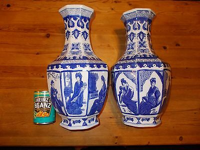 Super Large Pair Chinese 8 Pictures Vases White&Blue  38cm