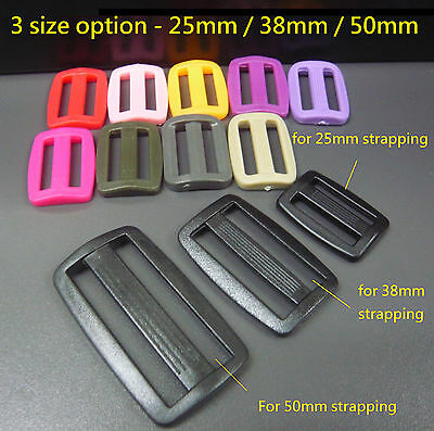 3 Bar Plastic Strap Buckle Adjuster 25mm/38mm/50mm Webbing Belt Strapping Slider