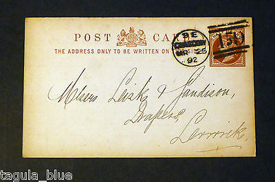 1892 pre-paid ½d commercially used Postcard receipt to Aberdeen
