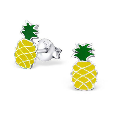 925 Sterling Silver Yellow Pineapple Kids Girls Women Stud Earrings Jewellery