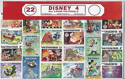 Disney 4 Assortment 22 Stamps All Different All Uncancelled Multiple Countries