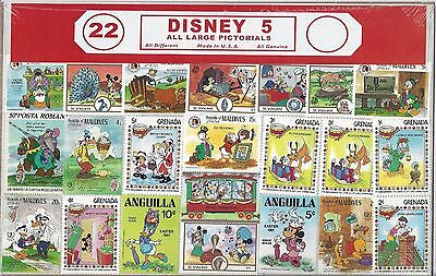 Disney 5 Assortment 22 Stamps All Different All Uncancelled Multiple Countries