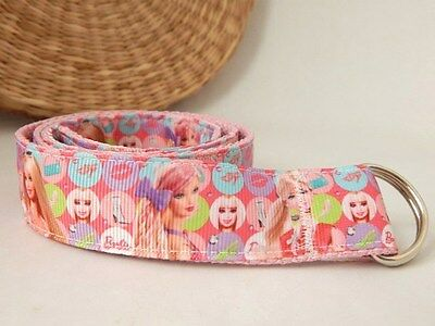 Barbie Belt, Handmade, adjustable cotton belt, girl's velcro or d-ring belt pink