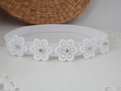 Christening baby headband, five white flowers with tiny rhinestones, baptism