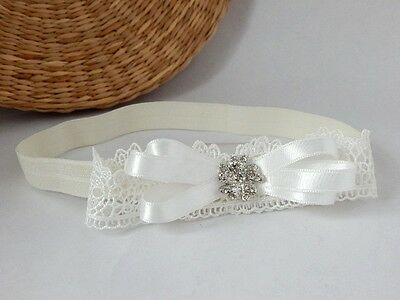 Ivory baby bow headband, lace headband for christening baptism, Handmade in UK