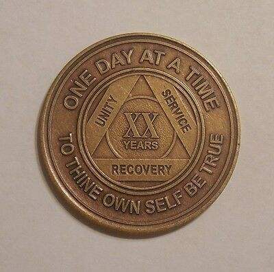 aa bronze alcoholics anonymous 20 year sobriety chip coin token medallion