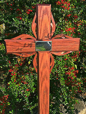 """40"""" Wooden Cross Memorial Solid Ash Grave Marker in Mahogany Personalised Plaque"""