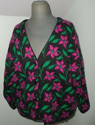 United Colors of Benetton Cardigan Sweater Wool & Angora 48 Large Vtg Floral 80s