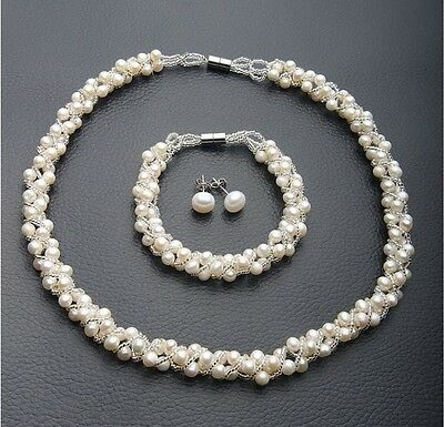 Genuine Freshwater Pearl Strand Necklace and  Bracelet  Earrings Set
