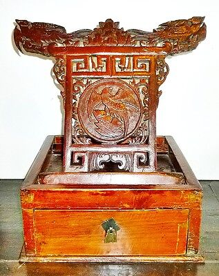 Chinese Antique Scholar Box Carved Wood Container