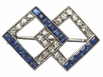 1.04 ct Sapphire and 0.63 ct Diamond, 9ct White Gold Brooch - Art Deco - Vintage