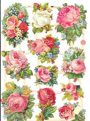 Decoupage Scrap For Hobby Craft & Scrapbook Pink Flowers Posy Bouquets Spray