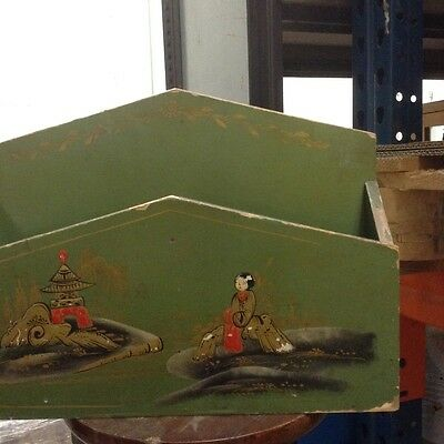 Wood paper rack with a painted oriental design