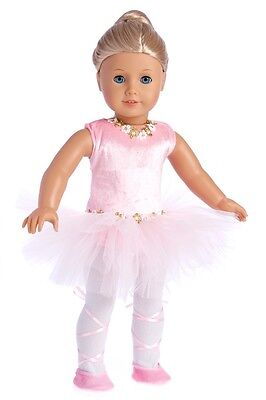 """Prima Ballerina - Ballet Doll Outfit for 18"""" American Girl, Leotard Tights Shoes"""
