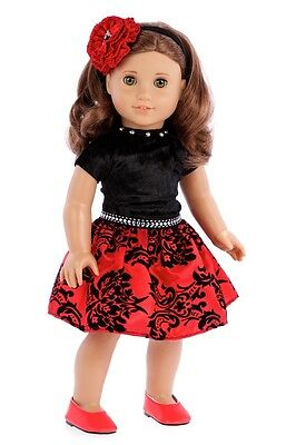 Holiday Spirit - Doll Clothes for 18 inch American Girl, Party Dress Red Shoes