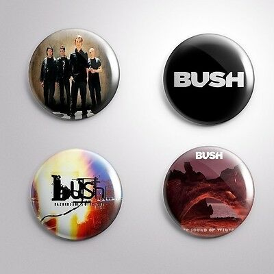 4 BUSH - Pinbacks Badge Button Pin 25mm 1''
