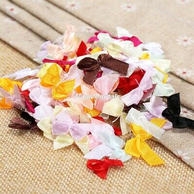 100Pcs Satin Ribbon Bows Multi Colours Craft Embellishment Wedding Decorations