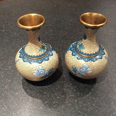 Mirror pair of vintage antique Chinese cloisonne brass vases