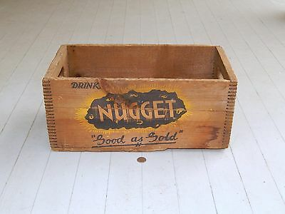 VINTAGE NUGGET SODA, RED FOX GINGER ALE Co. WOODEN BOX , WOOD, PROVIDENCE, RI