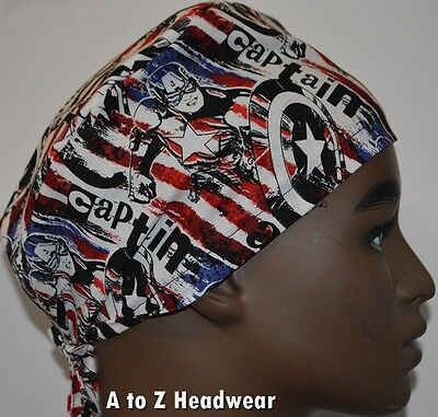 Marvel Captain America Red White Blue TRADITIONAL Unisex Surgical Scrub Hat Cap