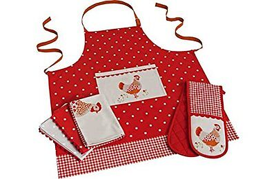 Heart of House Farmyard 5 Piece Textile Set.Teatowels, Apron and Oven Glove
