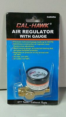 "New Solid Brass Air Pressure Regulator With Gauge Air Tool 1/4"" Npt In/outlet"