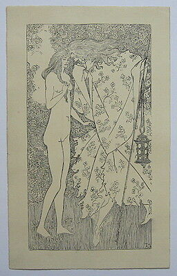 drawing signed AB (Aubrey Beardsley). The Mysterious Rose Garden