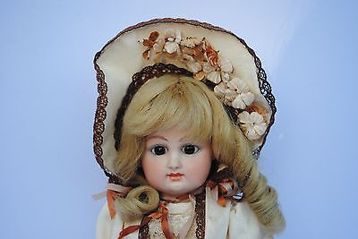"Antique 14"" French Fashion Doll Artist Reproduction Wig Made France Pierced Ear"