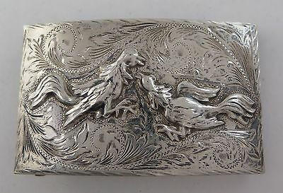 Rare Jalisco Sterling Silver Relief Rooster Cockfight Themed Western Belt Buckle