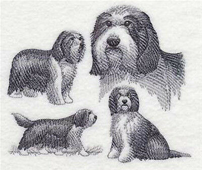 Bearded Collie sketch embroidery patch