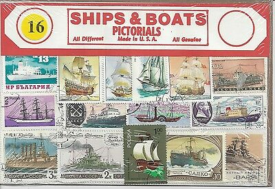 Packet of 16 Ships & Boats Stamps All Different