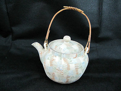ANTIQUE JAPANESE BANKO TEAPOT c1910 in MARBLED TAPESTRY DESIGN