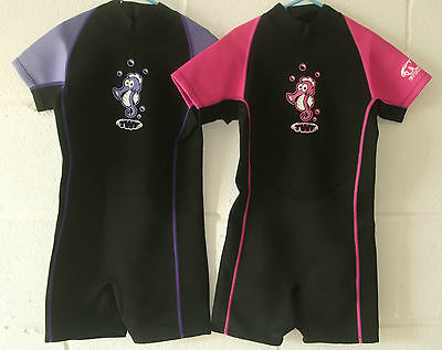 Brand New TWF Girls Seahorse Lilac / Black Summer Wetsuit Shortie Various Ages