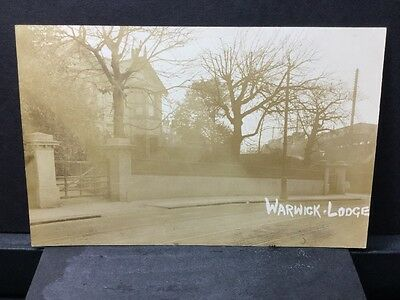 Warwick Lodge Real Photo Very Old Postcard Tram Lines In The Road. Ref 17/3171