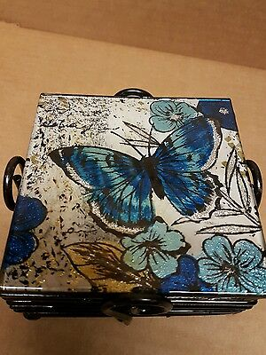 Set Of 6 Blue Butterfly Coasters Design Glass Coasters. Brand New