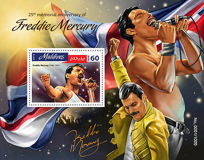 Maldives 2016 MNH Freddie Mercury 25th Memorial 1v S/S Music Celebrities Stamps