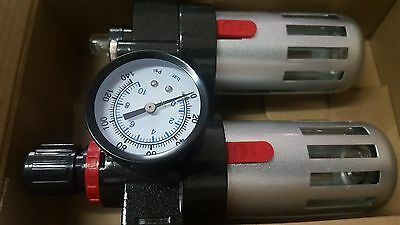 "1/4"" Air Compressor Regulator & Filter In Line Combo w/ Gauge Compressed Air New"