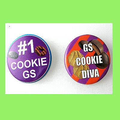 2 Cookie Buttons Pin Girl Scouts Collectors #1, & Diva NEW Multi=1 Ship Chrg
