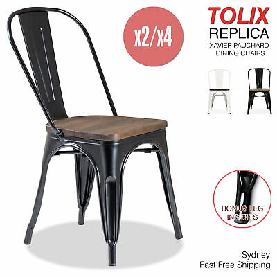 2-4x Tolix Wooden Dining Chairs Replica Xavier Pauchard Steel Industrial Metal