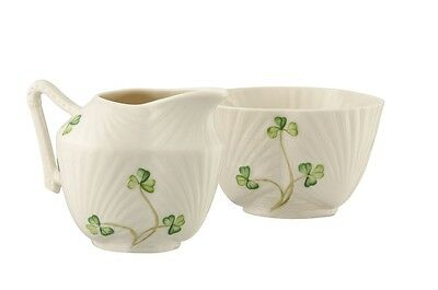 Belleek Harp Shamrock Sugar and Cream Set