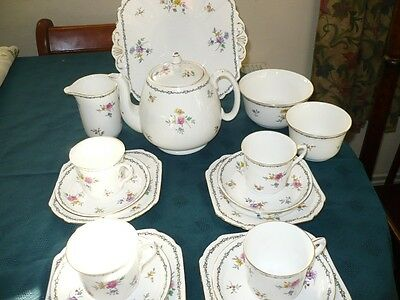 Vintage Shelley Lowestoft Part Tea Set With Tea Pot Bone China -733019