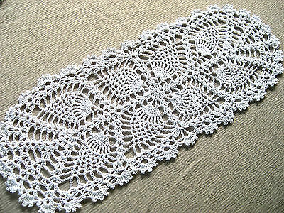 Thread Hand Crocheted White Doily Tablecloth Centerpiece Oval Lace Runner 17 in